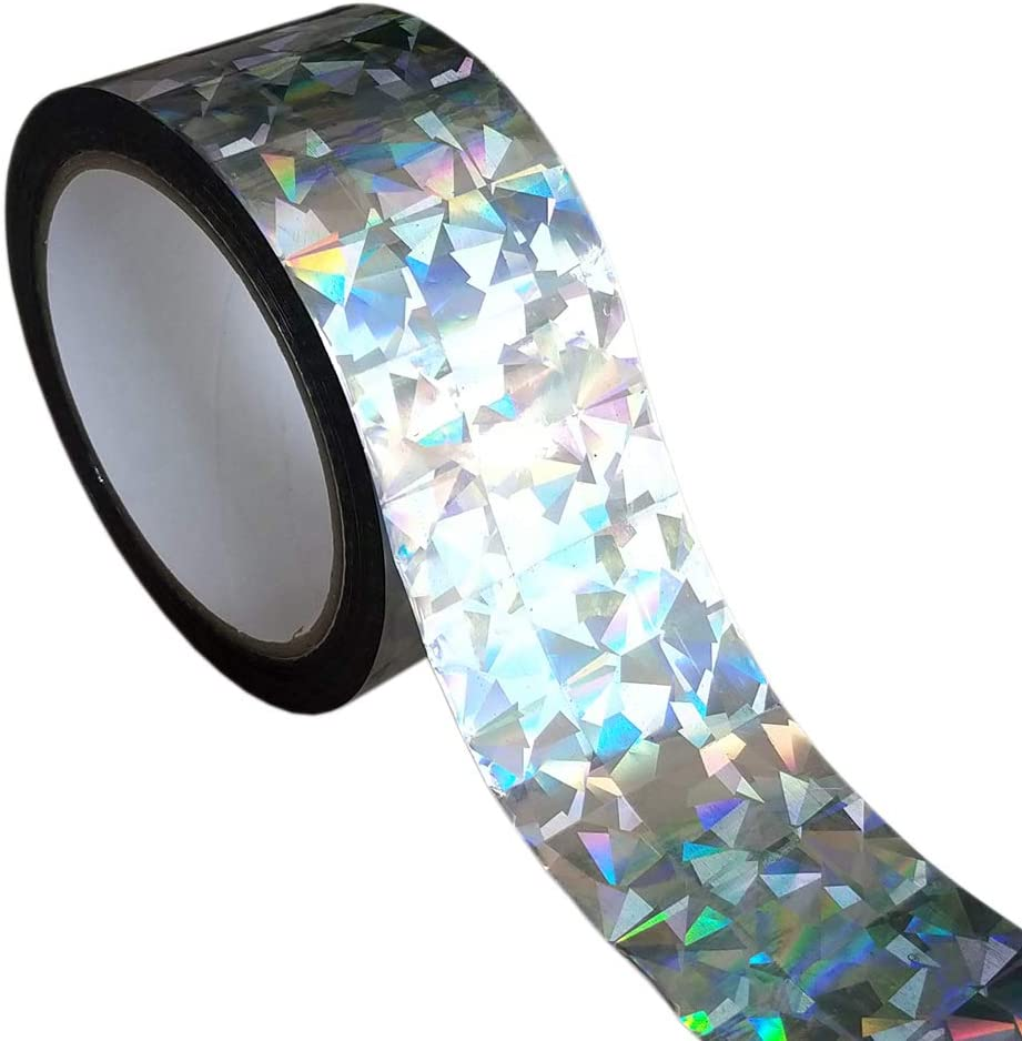 EACILLES Holographic Reflective Bird Scare Ribbon, 2in by 330ft
