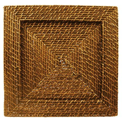 Harvest Rattan Charger Plate (Set of 4) (Rattan Square Charger Plates)