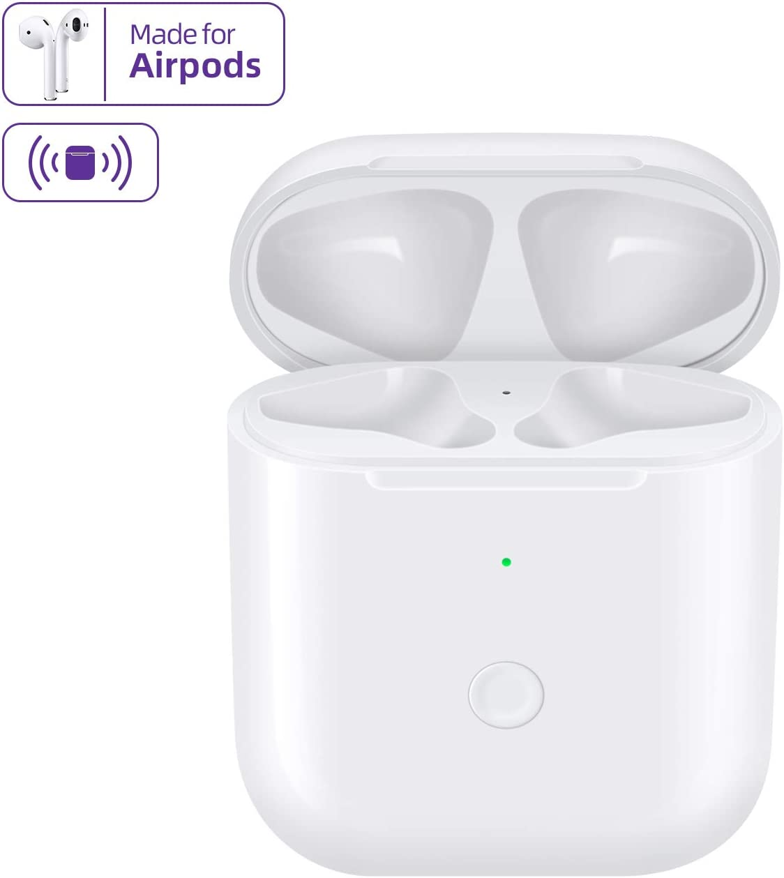 JinStyles Compatible with AirPods 1 2,Wireless Airpods Charging Case with Bluetooth Pairing Sync Button,Air pods Charger Case Replacement,White
