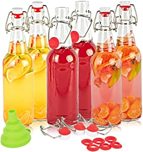 SXUDA Swing Top Glass Bottles BPA-Free 16oz Flip Top Airtight Brewing Bottle (6 Pack) with Free 3 Stoppers 1 Funnel 6 bonus gaskets for Kombucha, Beer, Oil and Vinegar, Beverages, Homemade Juices