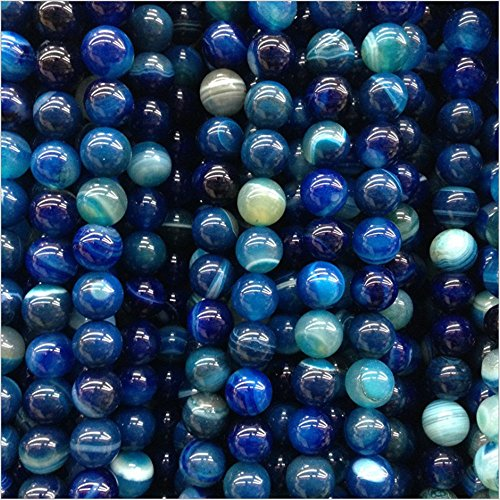 AITELEI Natural Semi-precious Gemstone Striped Blue Agate Bead Round Gemstone Agate Loose Stone Beads Bulk For Jewelry Making DIY Bracelet 4MM, 6MM, 8MM, 10MM,12MM Home Decor