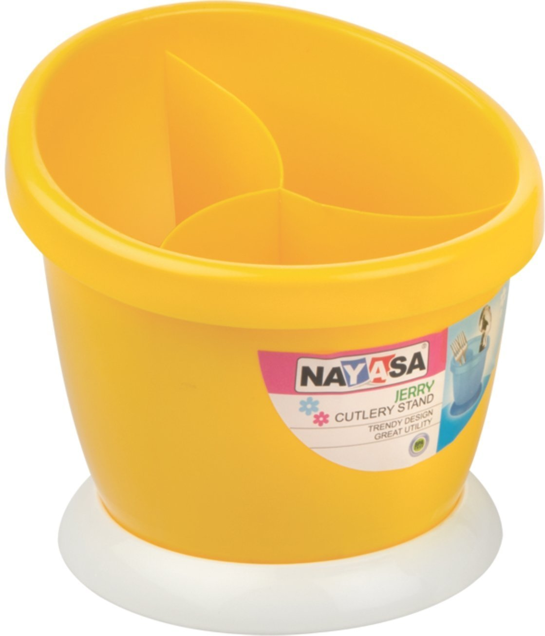 Nayasa Jerry Plastic Cutlery Stand, Yellow