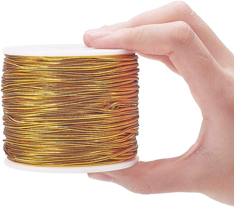 32 Yards PH PandaHall 2.5mm Metallic Gold Cord Ribbon Elastic Cords Stretch Ribbon Cord Metallic Tinsel Cord Rope for Craft Making Gift Wrapping Christmas Tree Decoration