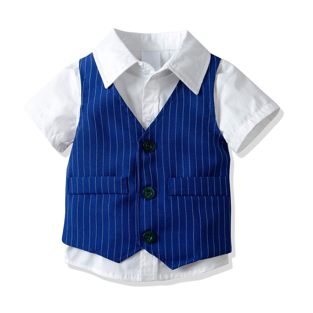 Yilaku Baby Boy Gentleman Suit Short Sleeve Bow Tie Shirt Vest Short Trouser 3pcs Summer Formal Outfits Clothes