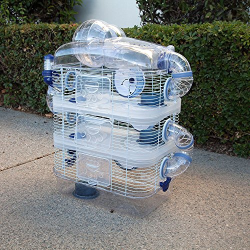 New Clear Transparent 3 Floor Levels Habitat Hamster Rodent Gerbil Mouse Mice Cage (Blue)