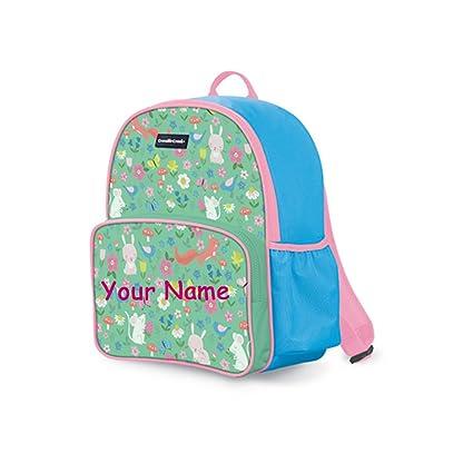 c5cb551da227 Personalized Crocodile Creek Kids Backyard Friends Animal Pink and Green  Backpack Book Bag - 14 Inches