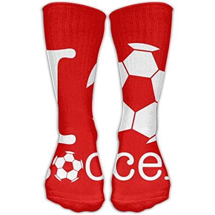 0f88a39c5a Amazon.com   Pin-1 Love Soccer Athletic Socks Novelty Running Long ...