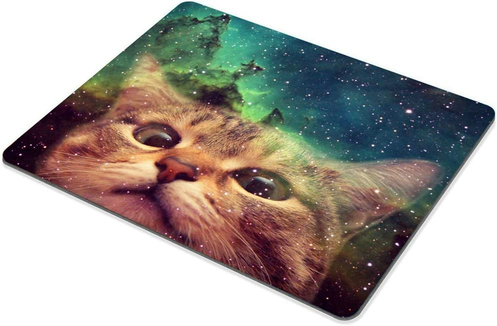 240mmX200mmX3mm Smooffly Gaming Mouse Pad Custom,Funny Cat in Galaxy Space Mouse pad 9.5 X 7.9 Inch