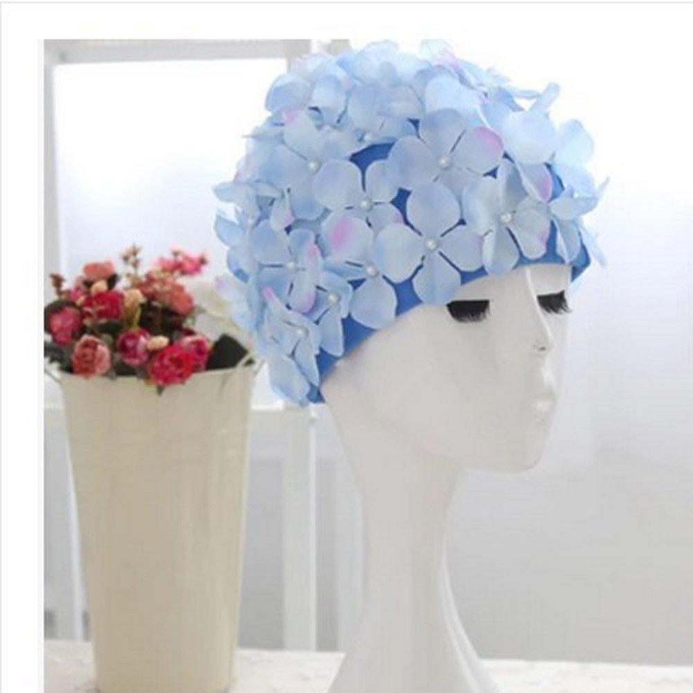 2455ceca9ca Amazon.com : UNAKIM--Vintage Floral Ladies Woman Swim Cap Petal Retro  Swimming Hat Flower Bathing Cap : Sports & Outdoors