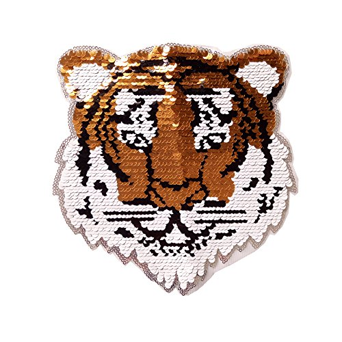Patches for Clothes Sew On Reversible Sequins DIY Patches Embroidered Tiger Motif Beaded Applique T-Shirt Plant Jeans Jacket Accessory Leopard Lion Animal Design