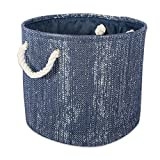 DII Decorative Metallic Lurex Storage Basket, Collapsible & Convenient for Home Organizational Solutions (Small Round - 12x14'), Nautical Blue