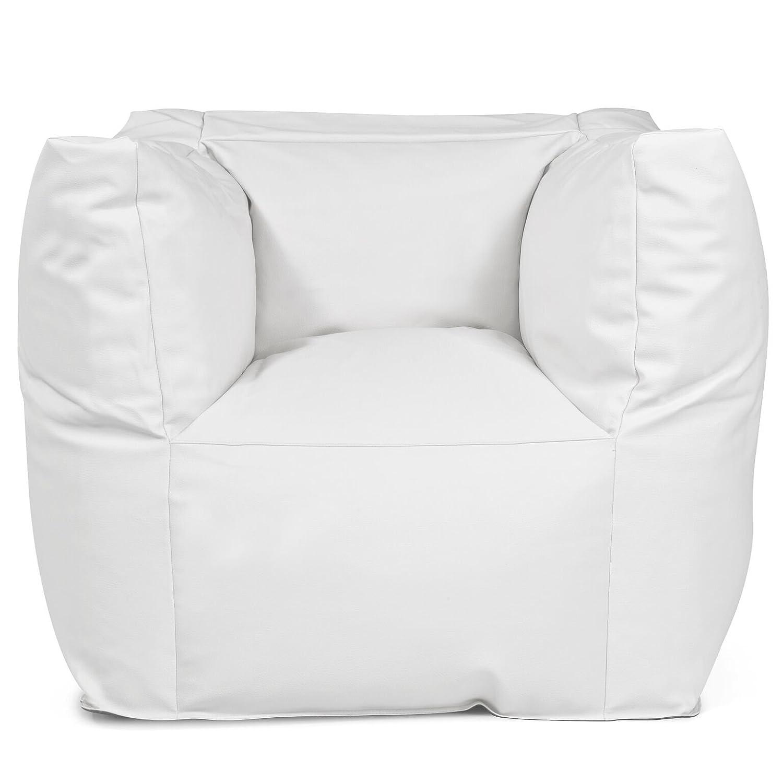 Outdoor Sitzsack Sessel Valley Deluxe hochwertige Lederoptik wetterfest frostsicher Hocker Gartenstuhl Gartensessel Gartenliege für draußen Outdoor Lounge Gartenmöbel moderner Look (Skin White)