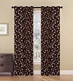 BEDnLINENS 2 Piece Set LUI Window Panels Embroidered Grommet Top Decorative Curtains, 54″x84″ & 54″x95″ (54″x95″, Chocolate) Review