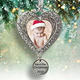 Baby's First Christmas - 2018 Ornament for Newborn - Silver Filigree Heart Shaped Photo Ornament - Baby Ornaments