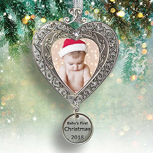 Christmas Tree Ornament Personalized (Baby's First Christmas - 2018 Ornament for Newborn - Silver Filigree Heart Shaped Photo Ornament - Baby Ornaments)