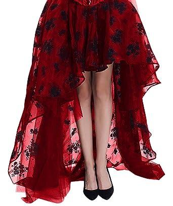 UK Women Lace Up High Waist Gothic Asymmetric Long Skirt FISH Steam Punk Skirt