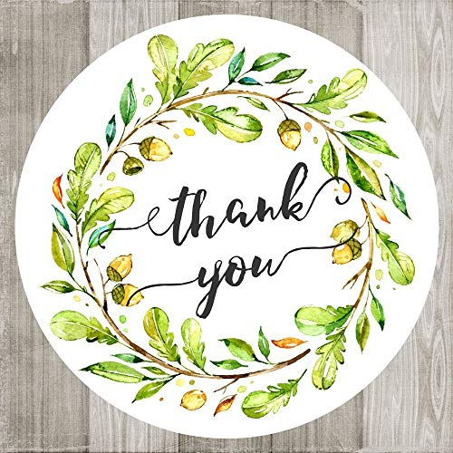Invitation Fall Wedding Leaves (Wreath Thank You Stickers - Nature Leaf Watercolor Envelope Seal Party Favor Labels - Set of 30)