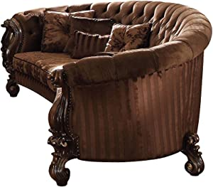 ACME Versailles Brown Velvet Sofa with 5 Pillows