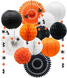 ADLKGG Halloween Party Decorations, Hanging Paper Fans Paper Lanterns Pom Poms Flowers Honeycomb Balls Circle Spider Bat Garland for Kids Adult Birthday Indoor Outdoor Yard Home Decor