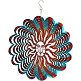 Sunnydaze 3D Multi-Color Sun Wind Spinner Hook, 12-inch