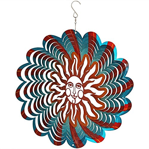 Sunnydaze 3D Multi-Color Sun Wind Spinner with Hook, 12-Inch by Sunnydaze Decor