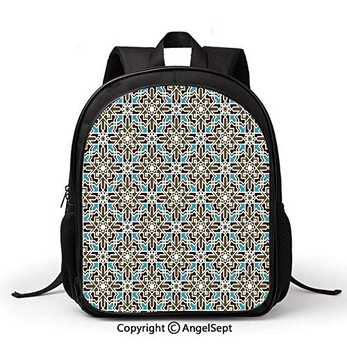 (Waterproof Kindergarten Child Book Bag Durable Arabesque Middle Eastern Inspired Moroccan Star Pattern OrnamentTaupe Pale Blue Brown For Elementary Student Backpack Unisex Children)
