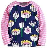 Girls' Cotton Crewneck Solid Long Sleeve T-Shirt(Flowers & Pink,6-7Yrs)