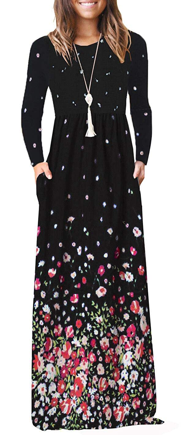 09a6a5b30aac ♫FEATURES:Round neck,Long sleeve,flower print,Two handy side pockets,  elastic waist,Full length, pleated design floral maxi long dresses