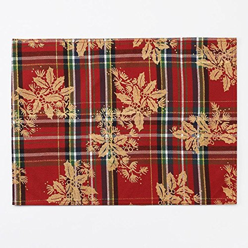 Christmas Tablescape Decor - Leafy Plaid Tartan Christmas Placemat Set of 4