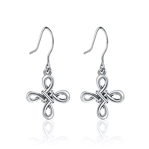 5bbf2d0bd Image Unavailable. Image not available for. Color: EUDORA 925 Sterling  Silver Celtic Knot Drop Cross Earrings ...