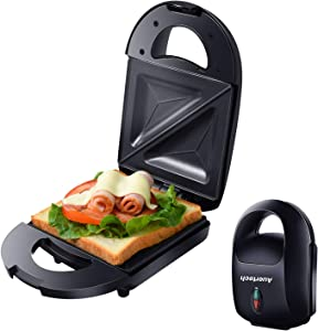 Auertech Compact Sandwich Maker, Mini Toaster and Electric Panini Maker Omelette Grilled Cheese Machine with Non-Stick Plates, Indicator Lights, Cool Touch Handle (Single Sandwich)