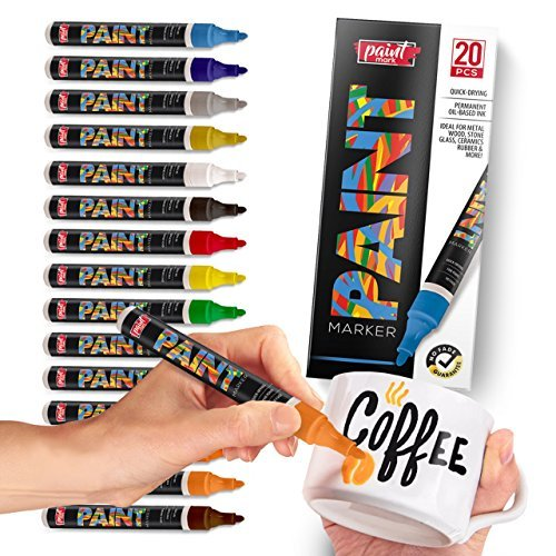 Paint Mark Quick-Dry Paint Pens - Write On Anything! Rock, Wood, Glass, Ceramic & More! Low-Odor, Oil-Based, Medium-Tip Paint Markers (20 Pack) by Paint Mark