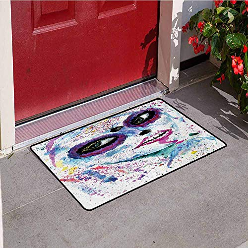 Jinguizi Girls Universal Door mat Grunge Halloween Lady with Sugar Skull Make Up Creepy Dead Face Gothic Woman Artsy Door mat Floor Decoration W31.5 x L47.2 Inch Blue -