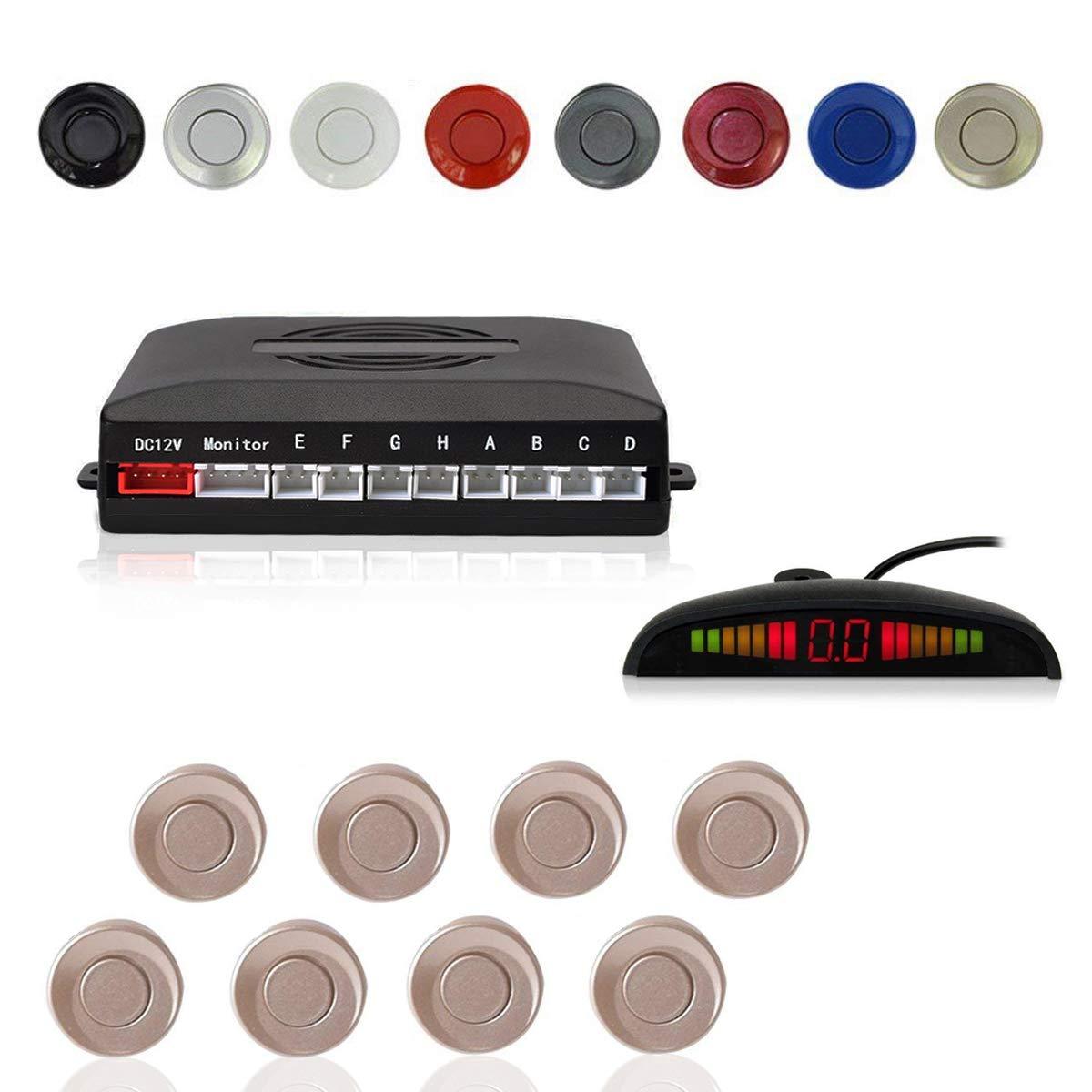 Cocar Argent Voiture Radar de Recul LED Parking Beep /& park Assist Syst/ème avec Distance Affichage R/étro Aide au Parcage 4 Capteurs