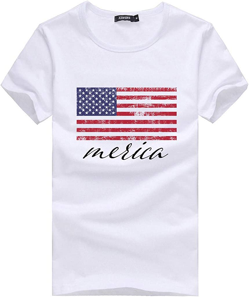 DAYPLAY Womens Flag Printed Short Sleeve T-Shirt Top Fashion Loose Summer Ladies Tee for Fourth of July Blouse Sale