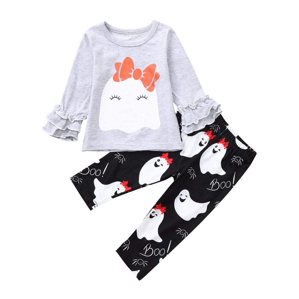Vinjeely Cute Baby Girls Halloween Ruched Ghost Bowknot Tops+Pants Outfits Clothes