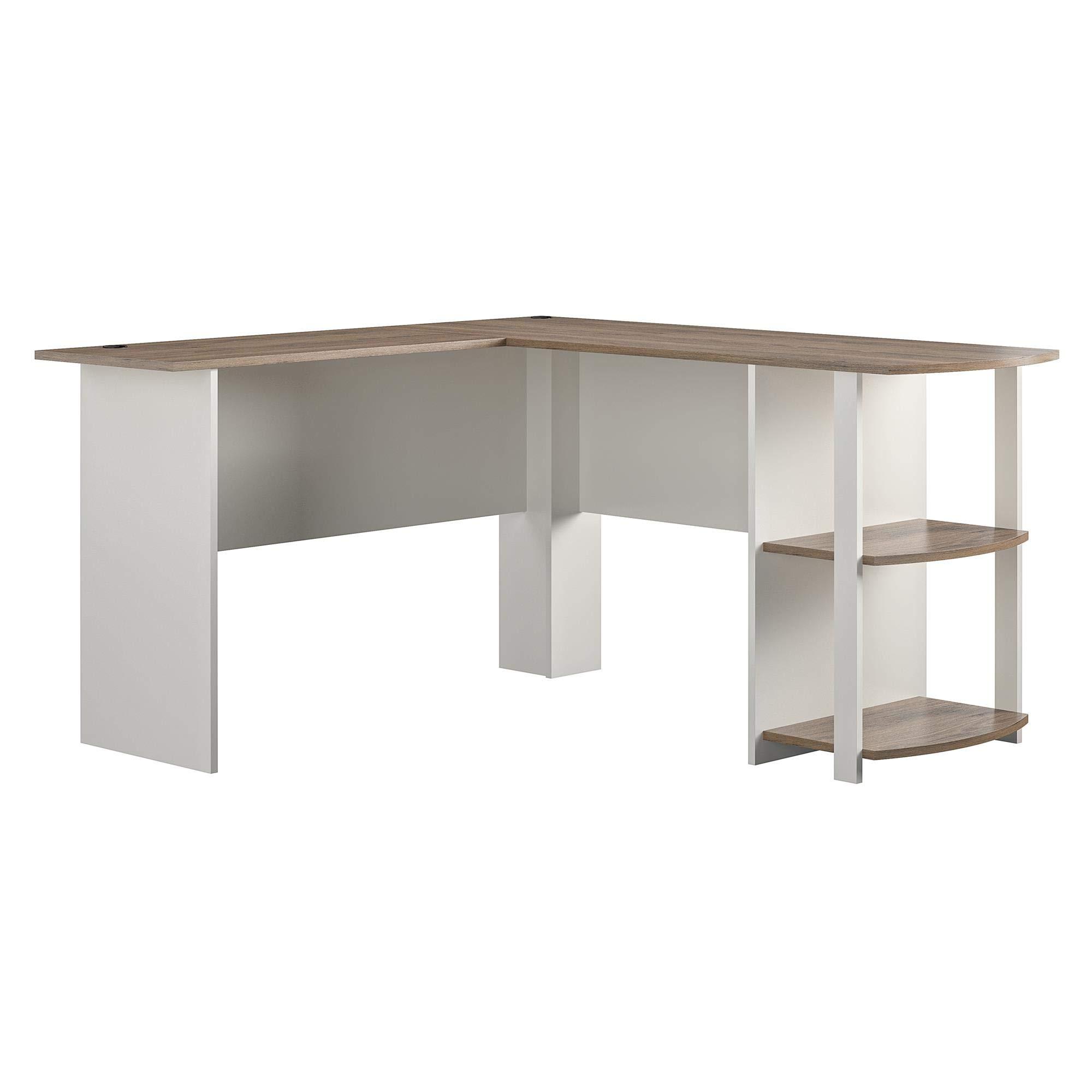 AmazonBasics Classic L-Shaped Desk with Open Bookshelves, White/Natural by AmazonBasics