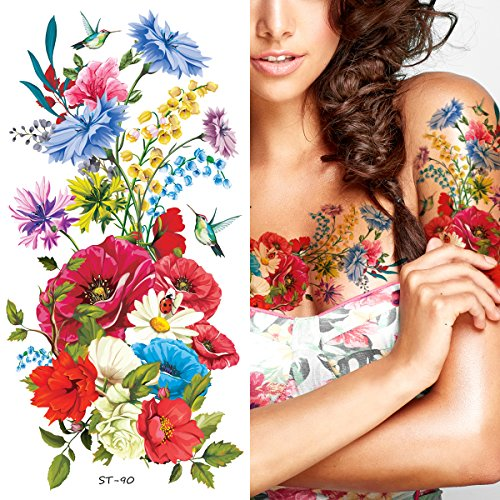 Supperb Temporary Tattoos - Hand drawn Colorful Summer Flower Bouquet (Set of 2)]()