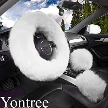 White OHHMNKK 3 Pcs Fluffy Plush Universal Steering Wheel Cover Luxury 15 inches with Handbrake Cover and Gear Shift Cover