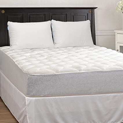 eLuxurySupply Extra Plush Bamboo Mattress Pad w/Fitted Skirt - Queen Size and 2-
