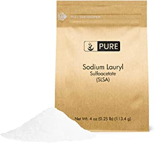 Pure Sodium Lauryl Sulfoacetate (SLSA) (4 oz), Eco-Friendly Packaging, Ideal Bath Bomb Additive, Gentle on Skin, Surfactant & Latherer