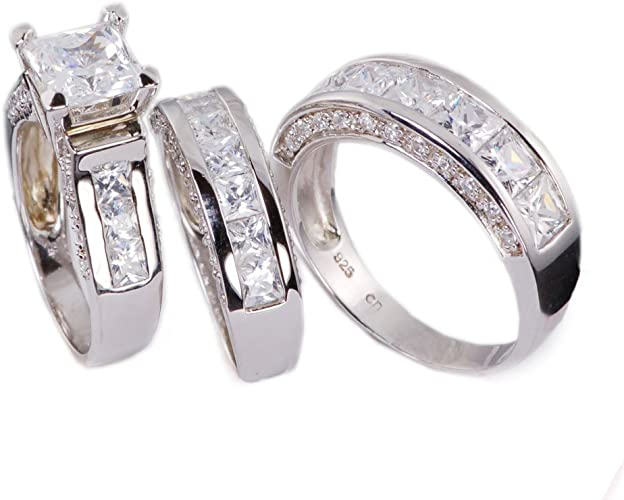 His /& Hers Stainless Steel Princess CZ Wedding Engagement 3 PC Ring Band Set