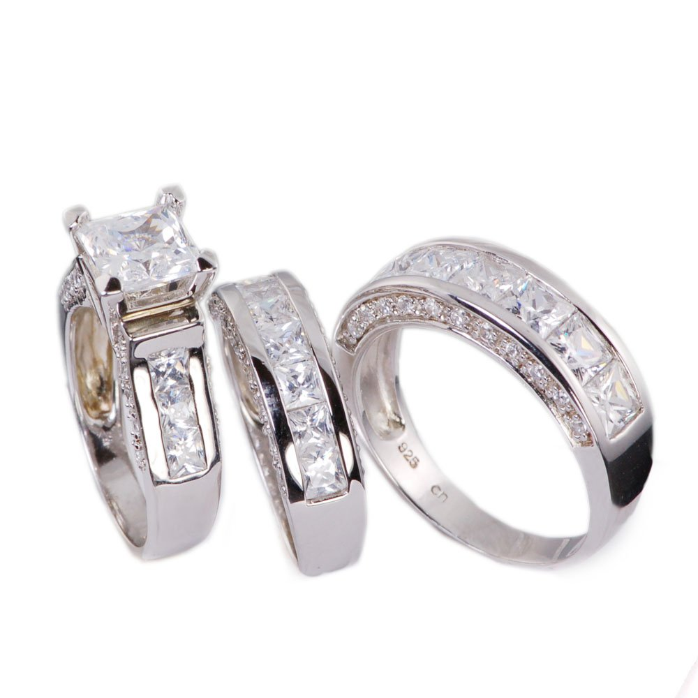 3pc His & Hers Princess Cut Cubic Zirconia Wedding Engagement Set Bridal Rings 925 Sterling Silver (His Size 12, Her 6)