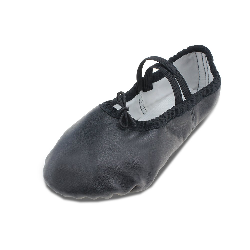 MSMAX Black Leather Full Sole Casual Slipper Ballet Flat,Toddler,8M US