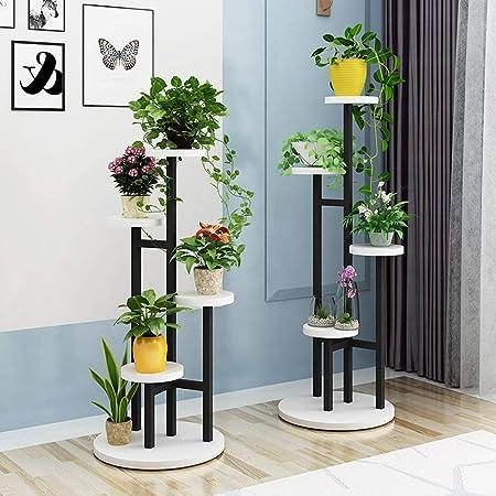 HBY Estante Vertical For Flores, Interior Y Exterior, Plantas De Múltiples Capas, Soporte, Macetas De Metal, Estante, Terraza De Jardín (Color : Black+White, Size : B): Amazon.es: Hogar