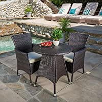 Melissa Outdoor 3 Piece Wicker Bistro Set with Cushions by Christopher Knight Home