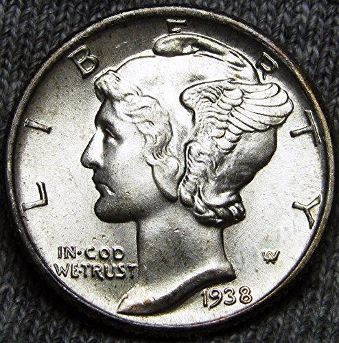 1938 Gem Brilliant Uncirculated Silver Mercury Dime Choice BU ()