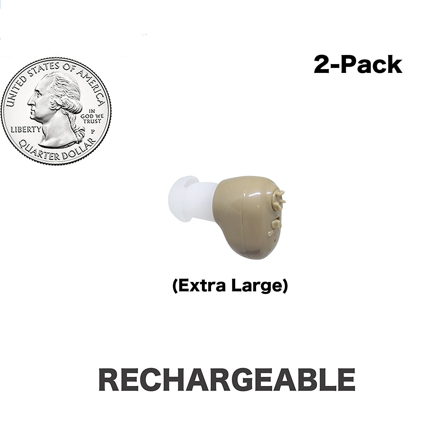 Large Quarter Sized ,Beige Color, 2-Pack, In The Canal (ITC), New Digital Hearing Ear Amplifier Kit By EASYUSLIFE , Rechargeable and Interchangeable , Adjustable Control , Suitable For Men and Women