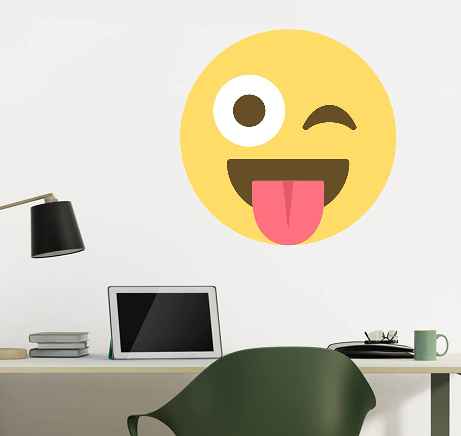 Amazon.com: Emoji One Peel & Stick Wall Decal: Face With Stuck-Out ...