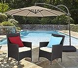 Do4U 2 Pcs Rattan Wicker Outdoor Dining Chairs | Patio, Backyard, Porch, Garden, Poolside | (Expresso-9014)